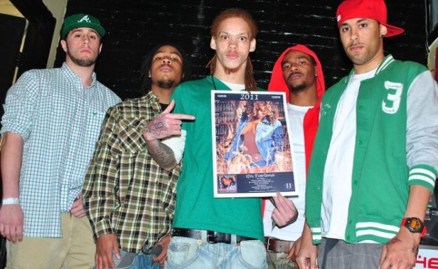 Destined to be a calendar girl, here is Kay Redd (R.I.P), and his entourage, holding up the QEB 2011 Calendar Poster @ DREAMin on Trinity Avenue. It was Queen's birthday, so everyone was asked to wear her favorite color GREEN.